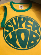 SUPER YOB T-SHIRT YELLOW GREEN TRIM